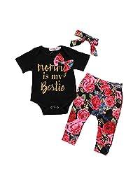 DKmagic Newborn Baby Girl Romper+Floral Pants+Headband Outfit Set (0M-24M)