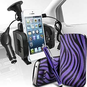 Samsung Galaxy Ace 3 S7270 Protección Premium de Zebra PU tracción Piel Tab Slip Cord En cubierta de bolsa Pocket Skin rápida Con Large Matching Stylus Pen, Micro 12v cargador de coche USB y soporte universal de la succión del parabrisas del coche Vent Cuna Púrpura y Negro por Spyrox