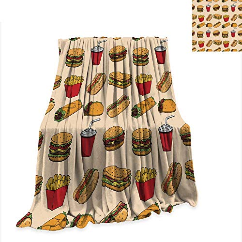 Anniutwo Summer Quilt Comforter Seamless Pattern with Fast Food Hamburger hot Dog Burrito Sandwich Design Element for Poster Wrapping Paper Vector Illustration -