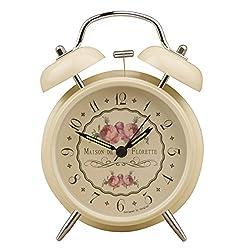 4 Vintage Bedside Alarm Clocks Double Bell Non-ticking Silent Quartz Analog Night Light Floral Retro Desk Decor