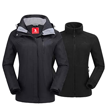 The Arctic Light Women 3 In 1 Winter Fleece Down Jacket Two Pieces Windbreaker Outdoor Sports Hiking Camping Skiing Coats  Camping & Hiking Down