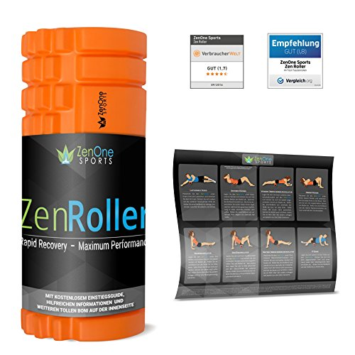 ZenRoller Faszien-Rolle mit Gratis E-Book & Übungsposter | Massagerolle (Orange)