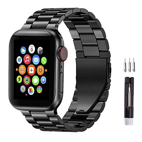 Fitlink Stainless Steel Metal Strap Replacement Link Bracelet Band Compatible with 2019 Apple Watch Series 5 Apple Watch Series 1/2/3/4 38/40mm and 42/44mm(Black, 42/44mm)