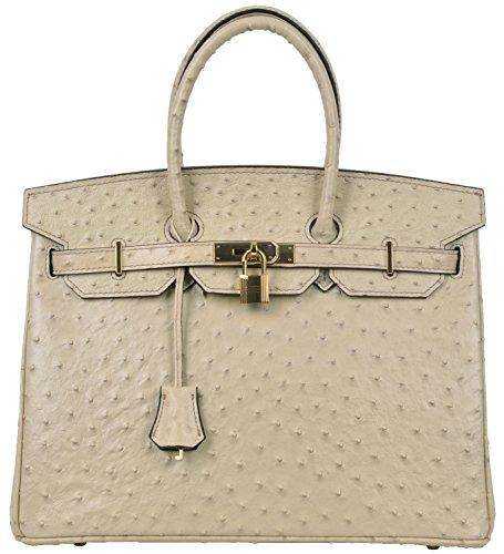 Cherish Kiss Luxury Women's Genuine Leather Embossed Ostrich Top Handle Padlock Handbags (35CM Ostrich, Apricot) by Cherish Kiss