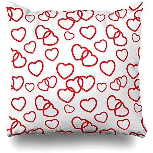 (Throw Pillow Covers Decor Cases Day Pink Pattern Heart Love Abstract Shape Baby Bib Birth Black Design Ornamental Home Pillowcase Square 18 x 18 Inch Zippered Cushion Case )