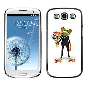 X-ray Impreso colorido protector duro espalda Funda piel de Shell para SAMSUNG Galaxy S3 III / i9300 / i747 - Flowers Frog Gift Love White