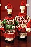 Winter Wine Bottle Knit Sweater, Christmas Wine Decoration, Wine Bottle Dress, Holiday Clothing, Wine Bottle Cover, Wine Gift Giving Idea - Set of 2
