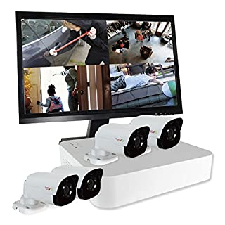 Revo America Ultra 4Ch. 1TB HDD 4K IP NVR Security System - Fixed Lens  4 x 4MP Audio IP Bullet Cameras (Built-in-MIC) - Remote Access via Smart Phone, Tablet, PC & MAC