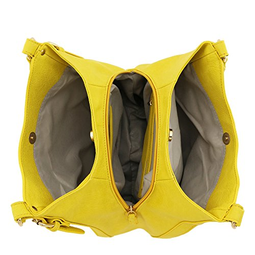 Hobo Light Faux Compartment 3 weight Bag Leather Yellow Medium rvxrYqw