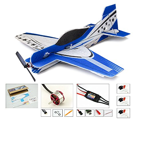 (Viloga Mini RC Plane 4CH Remote Radio Controled Aeroplane, 417mm Wingspan EPP Foam Airplane Adults, DIY Electric 3D Aerobatic Flying Aircraft for Indoors/Outdoors Flight (KIT+Motor+ESC+Servo))