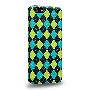 Diy iphone 5 5s case Fashion green and cyan argyle pattern Protective Snap-on Hard Back Case Cover for Apple iPhone 5 5S