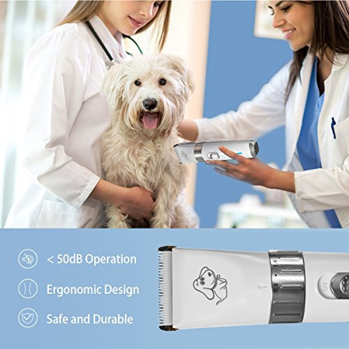 FOCUSPET Pet Grooming Clippers, 2 Level Speed Adjustable Rechargeable Cordless Dog Grooming Clippers Kit Low Noise Electric Hair Trimming Clippers Set for Small Medium Large Dogs Cats Animals by FOCUSPET (Image #6)