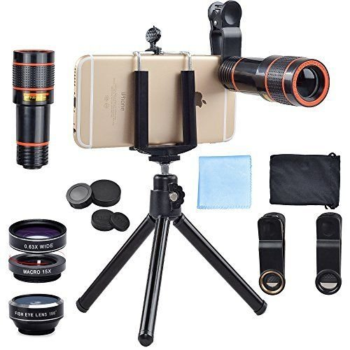 Passion store Smartphone Camera Lens 12X Telescope,Camera Phone Lens with Tripod, Camera Lens Kit +Fish Eye Lens+ Wide Angle Lens+ Macro Lens for iPhone X 8 7 6 Plus and Android by Passion Store