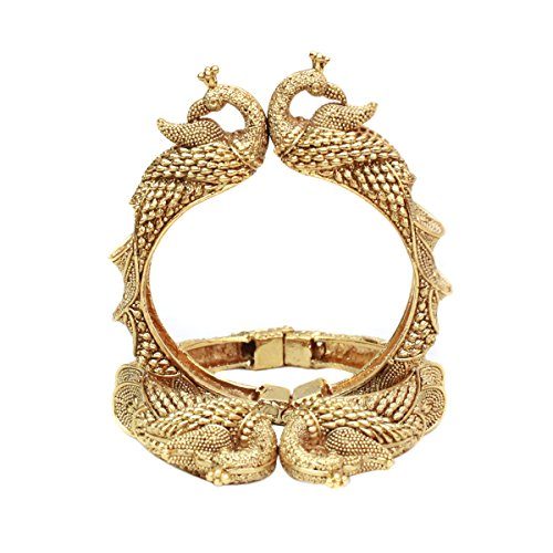 Exclusive Indian Ethnic Peacock Gold Plated 2 Pcs Bangle Set Polki Wedding Jewelry (2.2 Small Size)