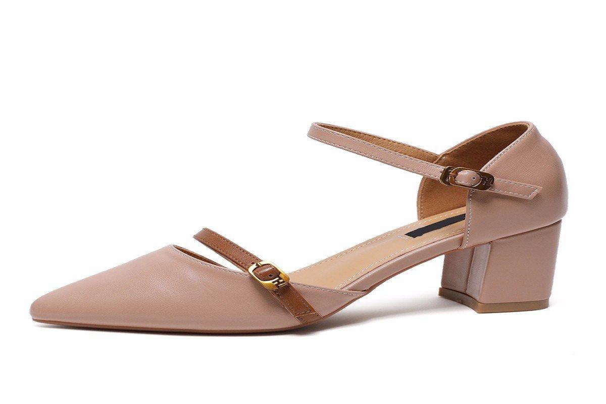 HBDLH Damenschuhe Ein Paar Schuhe mit Einem Spitzen Nase in der Mitte mit Einem Leeren Knoten Sexy 6 cm Schuhe mit Hohen Absätzen.