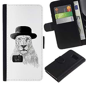 LASTONE PHONE CASE / Lujo Billetera de Cuero Caso del tirón Titular de la tarjeta Flip Carcasa Funda para Samsung Galaxy S6 SM-G920 / Funny Meth Cook Lion