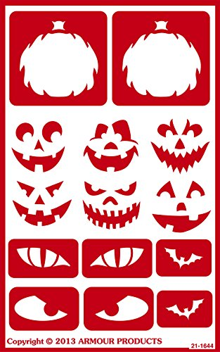 Armour Products Over N Over Glass Etching Stencil, 5-Inch by 8-Inch, Halloween Faces -