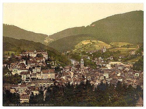 Photo: Baden-Baden,general view with castle,Baden,Germany,c1895
