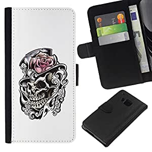 All Phone Most Case / Oferta Especial Cáscara Funda de cuero Monedero Cubierta de proteccion Caso / Wallet Case for HTC One M9 // Rose Top Hat Skull Heath White Black