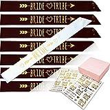 #glamist Bride Tribe Bachelorette Sash Set - 8 Gold Glitter Black & White Bridal Shower Sashes, 52 GoldGloss Temporary Tattoos (2 Sheets) & 8 Gold Decor Pins