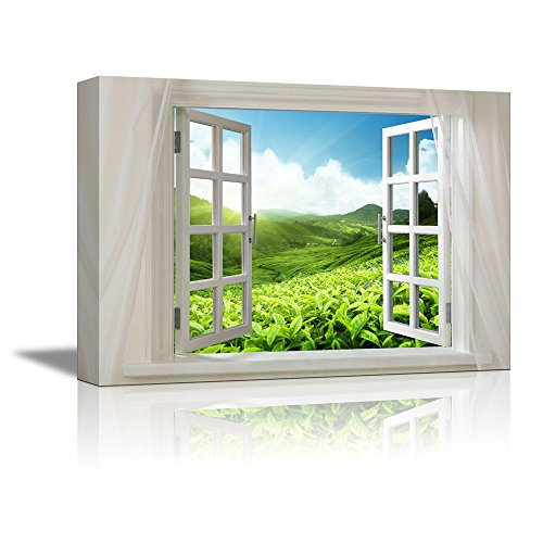 Glimpse into Tea Fields on the Mountains in Summer out of Open Window Wall Decor ation
