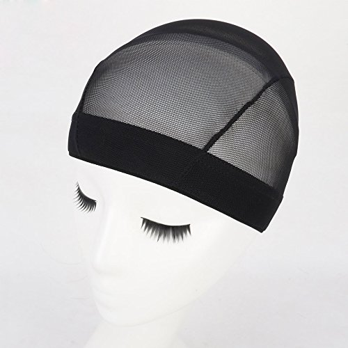 5 Pack Black Dome Cornrow Wig Caps Elastic Nylon Breathable Black Mesh net for Black women and Men