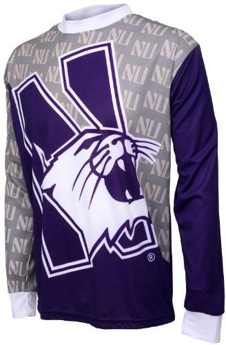 Northwestern Cycling Jersey - NCAA Boys' Northwestern Wildcats Long Sleeve Performance BMX Jersey (Multi, Medium (8-10))