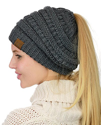C.C BeanieTail Soft Stretch Cable Knit Messy High Bun Ponytail Beanie Hat, Dark Melange Gray Metallic -