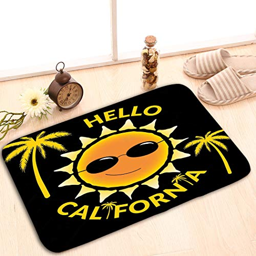 - zexuandiy Non-Slip Doormat Non-Woven Fabric Floor Mat Indoor Entrance Rug Decor Mat 23.6 W X 15.7 W Inches t Shirt Typography Quote Hello California Sun Palms f