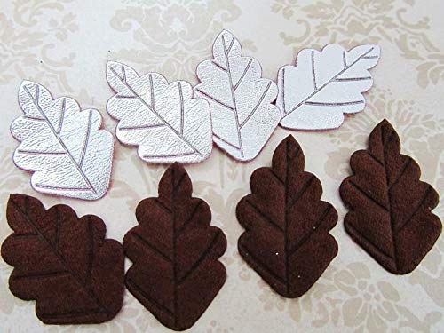 60 Brown Suede & Silver Patent Leather Leaf Applique/Trim/Sewing/Flower/Bow #ID-794