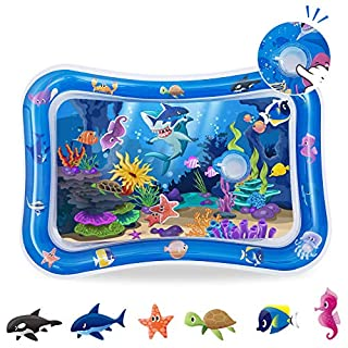 relaxing baby Inflatable Water Play Mat Tummy Time Water Mat with Squeak Baby Toys for Infants & Toddlers 3 6 9 Months and up Mat Promotes Visual Stimulation Water Mat