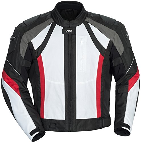 Cortech VRX Men's Textile Armored Motorcycle Jacket (White/Black/Red, XX-Large)