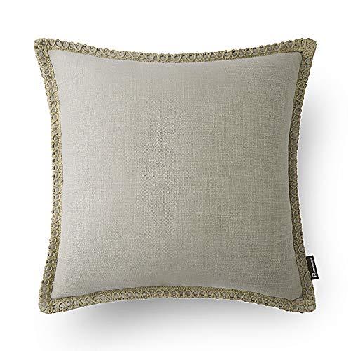 Phantoscope Farmhouse Burlap Linen Trimmed Tailored Edges Throw Pillow Case Cushion Covers Beige 18 x 18 45 x 45 cm
