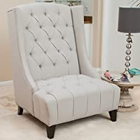 Winger Tall Wingback Accent Chair w/ Buttons Tufted Backrest & Seat