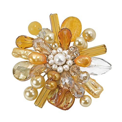 - AeraVida Yellow Fusion Cultured Freshwater Pearl & Mother Pearl & Simulated Quartz Floral Pin Brooch