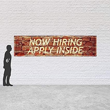 CGSignLab 12x3 Now Hiring Apply Inside Ghost Aged Brick Heavy-Duty Outdoor Vinyl Banner