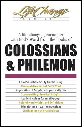 Colossians philemon lifechange the navigators 9780891091196 colossians philemon lifechange the navigators 9780891091196 amazon books fandeluxe Gallery