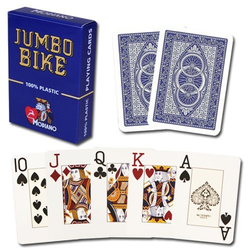 - Modiano Bike Trophy 100% Plastic Jumbo Index Playing Cards (Blue)