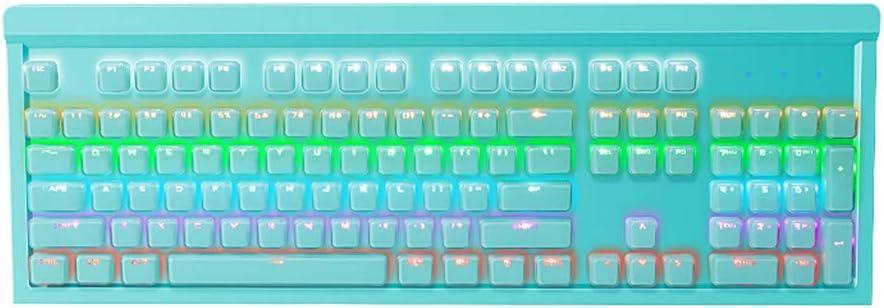 Blingdots Mechanical Keyboard Crystal Key Cap Blue Switch Mechanical Keyboard Splashproof USB Wired 104 Keys RGB Backlight Keyboard for PC Computer