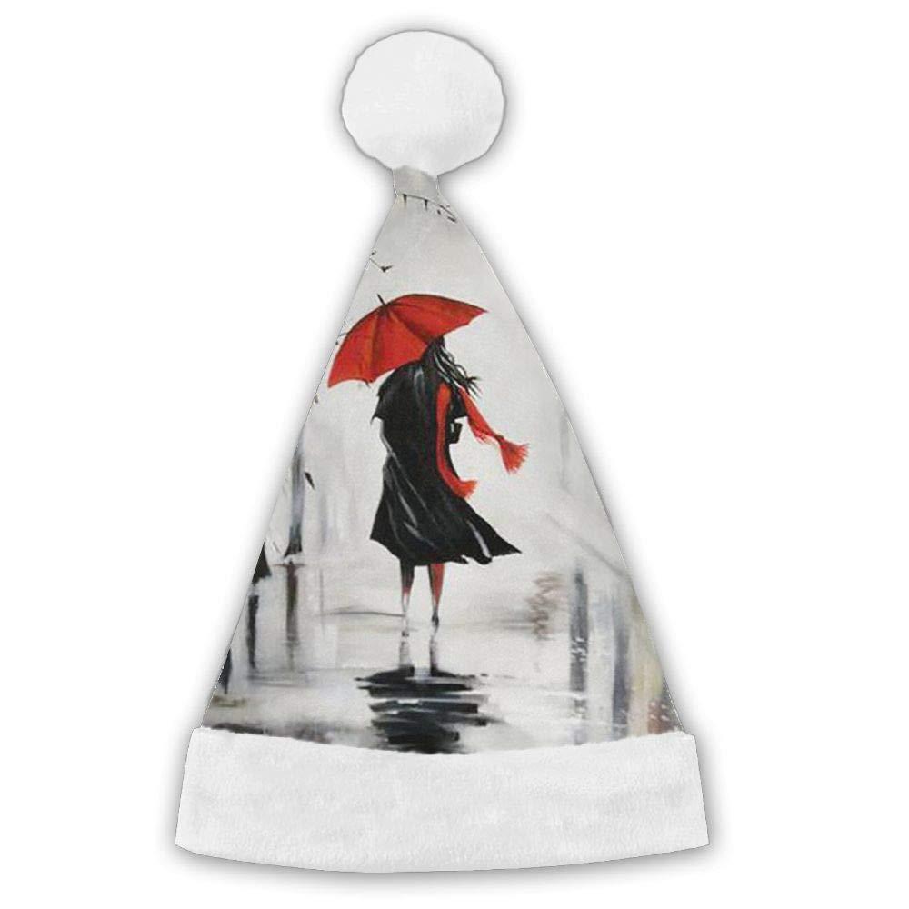 Rain Giarl Red Umbrella Red Velvet Family Santa Hat With Plush Trim