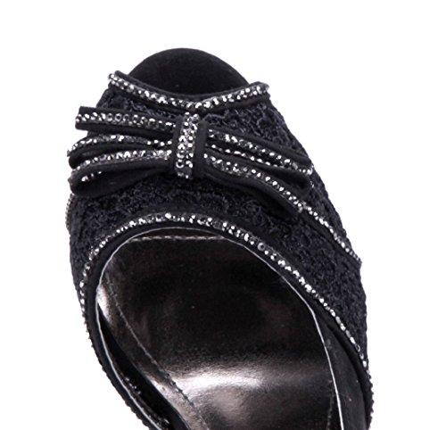 Schuhtempel24 Damen Schuhe Peeptoes Pumps Stiletto Ziersteine/Zierschleife/Blumenapplikation 10 cm High Heels Schwarz