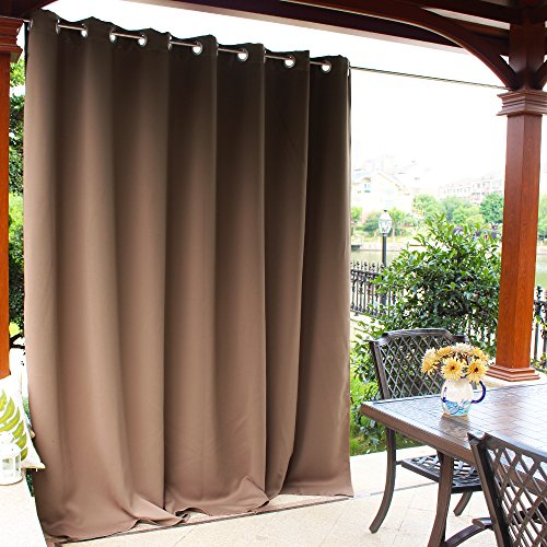 NICETOWN Outdoor Curtain Panel for Cabana - Thermal Insulated Grommet Blackout Sliding Patio Door Curtain/Drape for Party/Sun Room/Terrace (Tan, Sold Individually, 100 by 95-Inch)