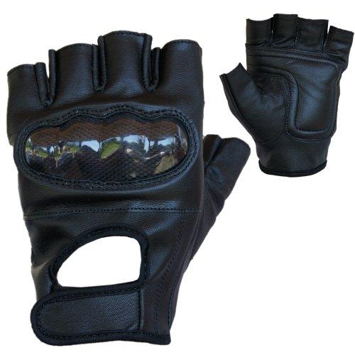 PROANTI Motorradhandschuhe Leder Chopper Handschuhe mit Protektor (Gr. S-XXL, schwarz)