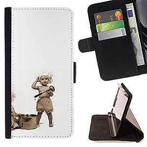 For Motorola Moto E ( 1st Generation ) Case , Bebés divertidos de cocina- la tarjeta de Crédito Slots PU Funda de cuero Monedero caso cubierta de piel