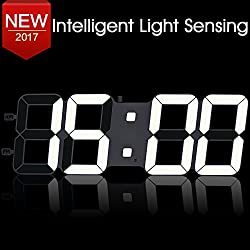 17.3 Jumbo LED Wall Clock with Oversize Digits, Extra Large Digital Wall Clock Displays Wall Clock with Adapter Included, for Home/Warehouse/Airport/Gymnasium/Garage, White