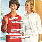Anne Taintor Square Refrigerator Magnet - No One In This Entire Church Suspects We're Stoned