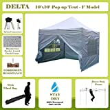 10'x10' Pop up Canopy Wedding Party Tent Gazebo EZ White - F Model Commercial Frame By DELTA Canopies