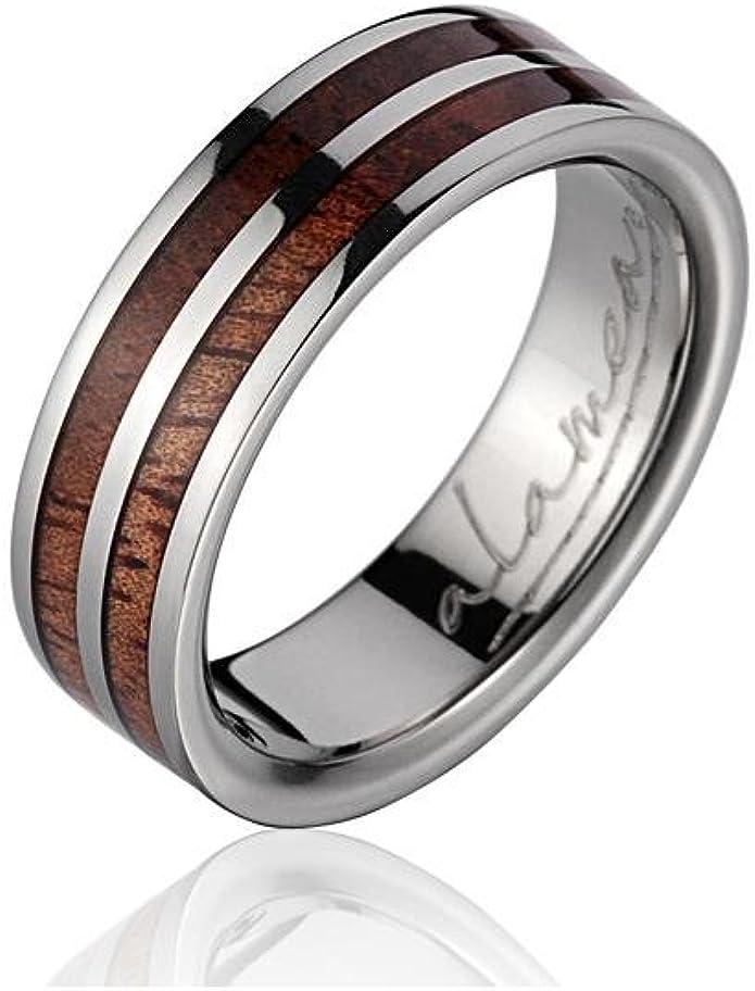 GENUINE INLAY HAWAIIAN KOA WOOD WEDDING BAND RING TITANIUM 10MM SIZE 5-14