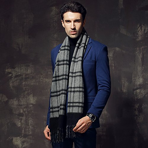 Winter double man thickening scarf, long edition of British edition wool cashmere scarf