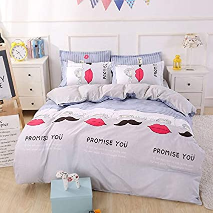 Amazoncom Jx Lecal Home Bedding Set Lips Beard Letters Bed Cover
